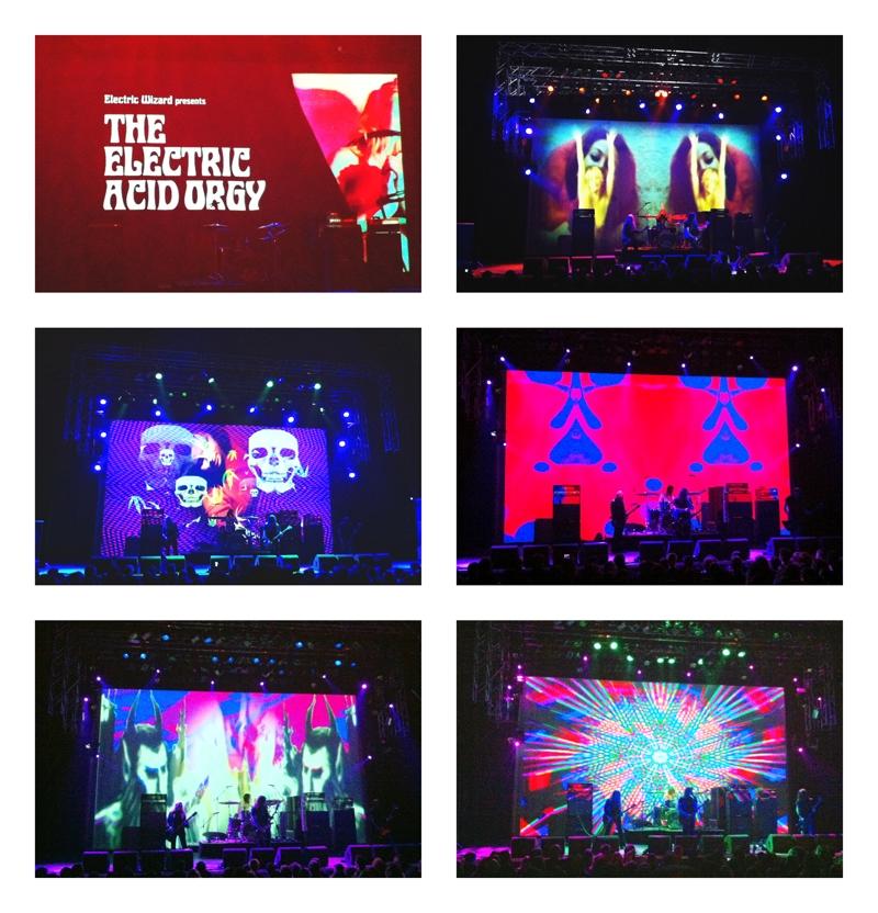 Fotomontaje de las proyecciones del concierto de Electric Wizard. Autor: Tamara G. Cisneros (http://tamcisneros.tumblr.com/)