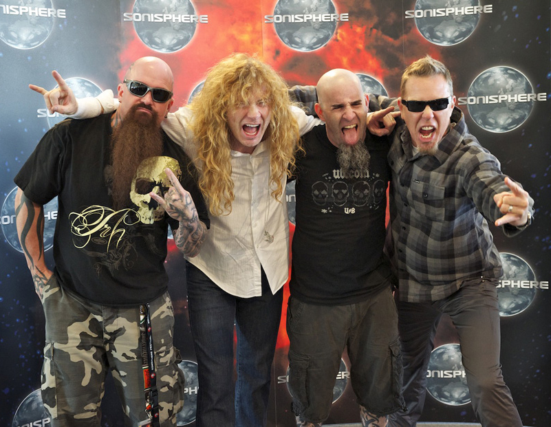 Gira de los Big Four en 2011. De izq. a drcha: Kerry King (Slayer), Dave Mustaine (Megadeth), Scott Ian (Anthrax) y James Hetfield. Fuente: www.blogshure.com