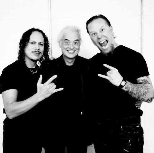 Hammet y Hetfield con Jimmy Page de Led Zeppelin (en el centro). Fuente: www.pinterest.com