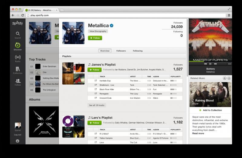 Metallica entran en el catálogo de Spotify. Fuente: