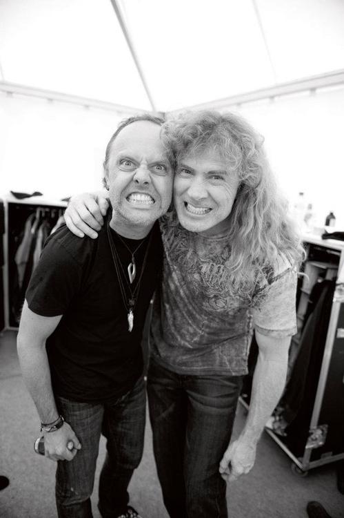 Ulrich y Mustaine en el backstage de la gira del Big Four. Fuente: www.pinterest.com